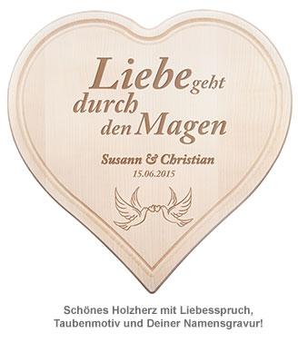 Holzherz zur Hochzeit - mit Tauben und Liebesspruch - 2