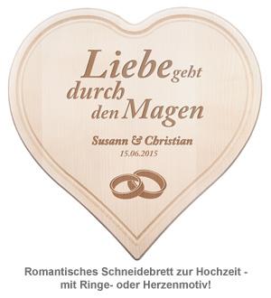 Graviertes Holzherz zur Hochzeit - mit Liebesspruch - 2