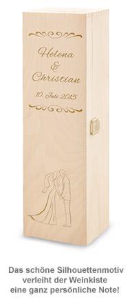 Personalisierte Weinkiste zur Hochzeit - Silhouette - 3