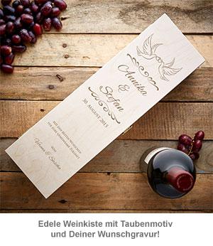 Personalisierte Weinkiste - mit Liebestauben Gravur - 3