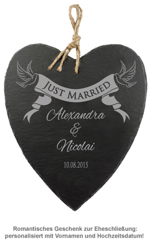 Schieferherz mit Banner Gravur - Just Married - 2