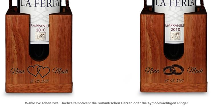 Graviertes Edelholz Flaschenpuzzle zur Hochzeit - 2