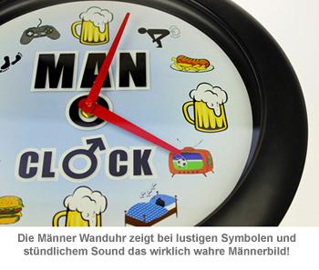 Männer Uhr - Wanduhr mit Sound - 2