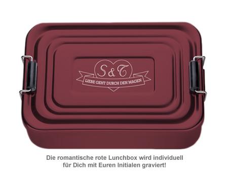 Gravierte Lunchbox Love - quadratisch (rot) - 2