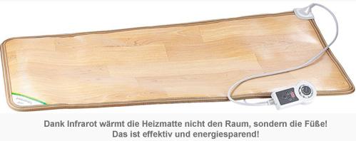 infrarot heizmatte beheizbare regulierbare fu matte bis 50. Black Bedroom Furniture Sets. Home Design Ideas
