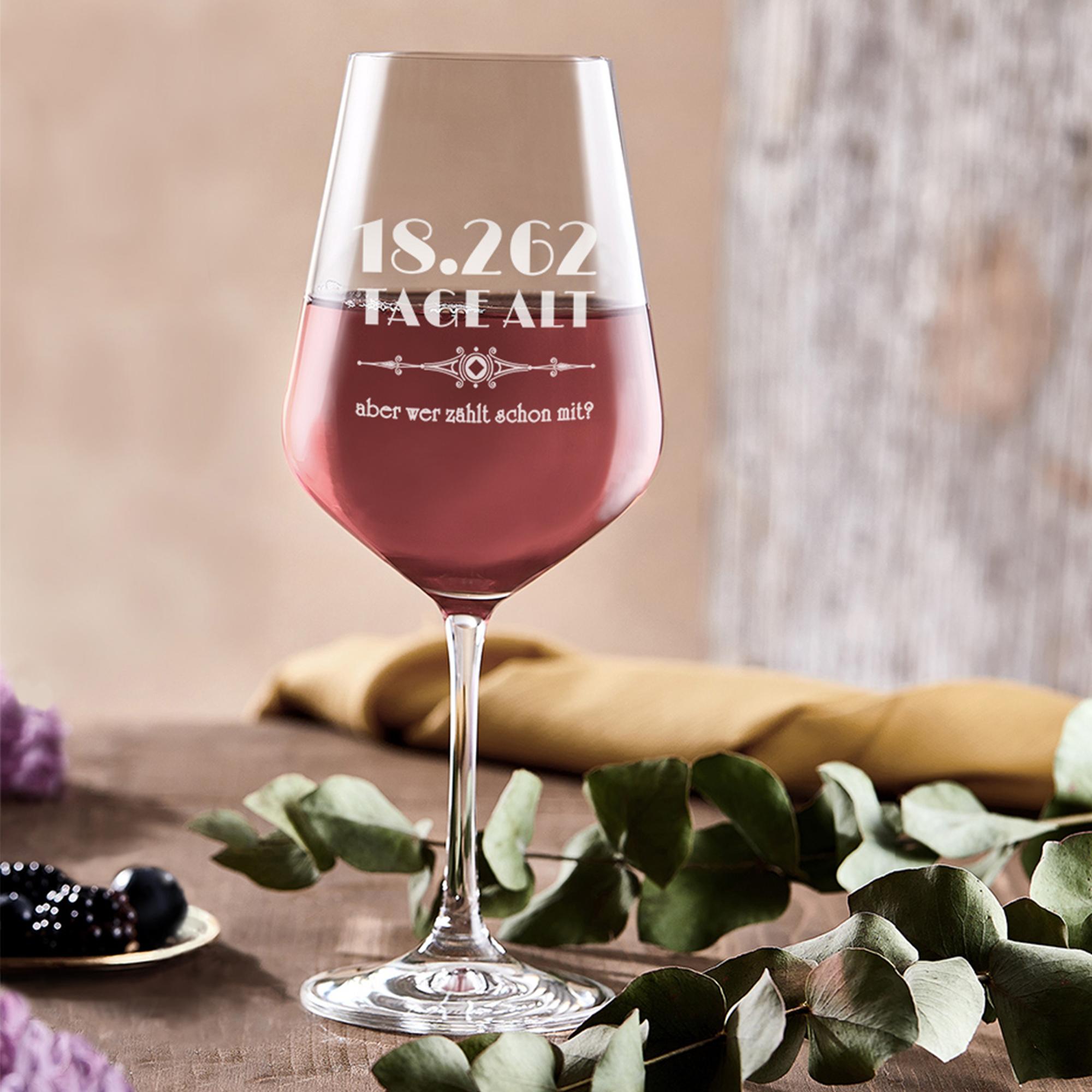 Rotweinglas mit Gravur Alter in Tagen 50  Geburtstag Geschenkidee Mann Frau