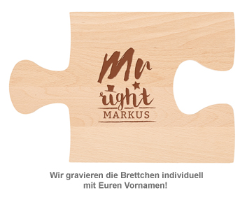 Personalisiertes Puzzle Brettchen Set - Mr and Mrs Right - 2