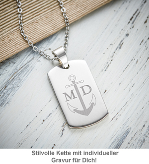 army dog tag kette mit gravur f r m nner anker. Black Bedroom Furniture Sets. Home Design Ideas