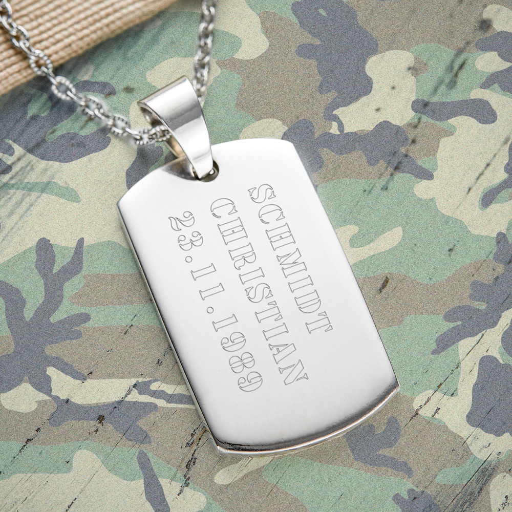 Army Dog Tag Kette mit Gravur für Männer Armee