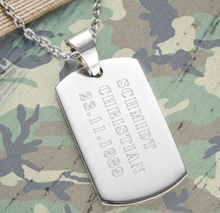 Army Dog Tag Kette mit Gravur für Männer - Armee - 3