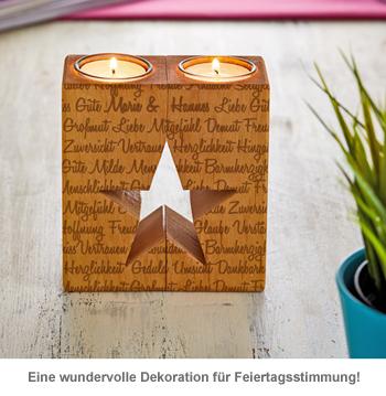 Kerzenhalter Set Stern - Worte mit Namensgravur - 3