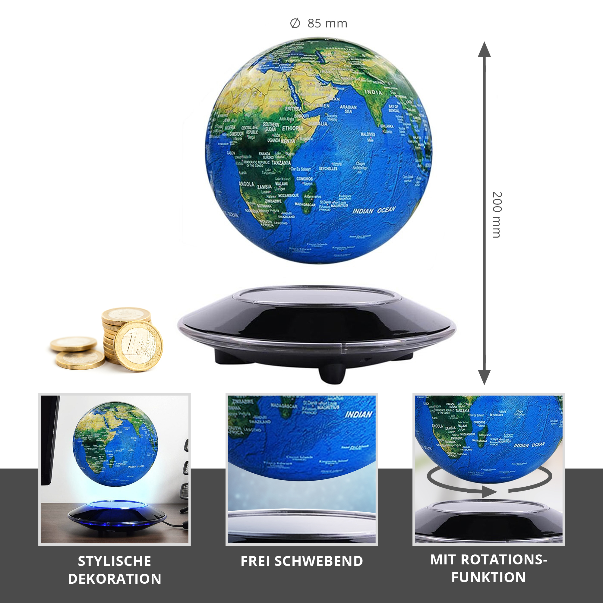Schwebender Globus mit elektromagnetischer Basis - 2