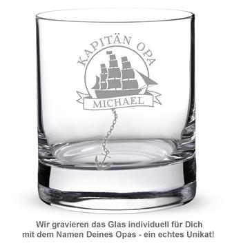 Personalisiertes Rumglas für Opa - Segelschiff - 2