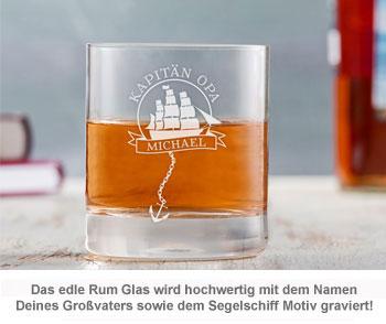 Rum Set mit Globus Karaffe und Glas - Segelschiff für Opa - 2