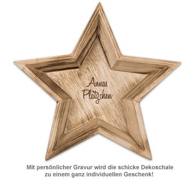 Deko Holzschalen mit Gravur - Stern - 2
