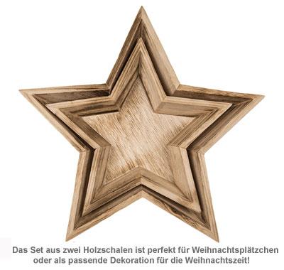 Deko Holzschalen mit Gravur - Stern - 3