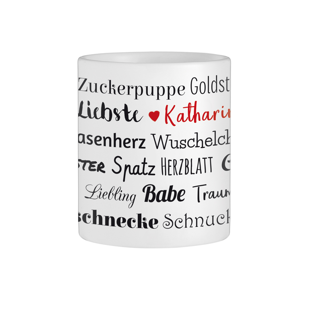 Personalisierte Herz Henkeltasse - Kosenamen Frau & Name
