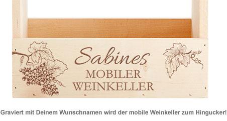 Flaschenträger mit Gravur - Mobiler Weinkeller - 2