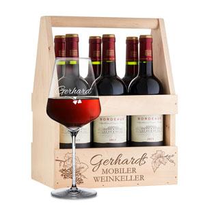 Flaschenträger mit Weinglas personalisiert - Mobiler Weinkeller - 4