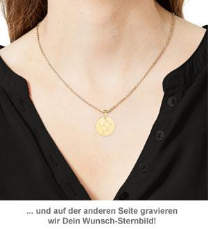 Runder Kettenanhänger Gold - Sternbild mit Initiale - 3