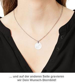 Runder Kettenanhänger Silber - Sternbild mit Initiale - 2