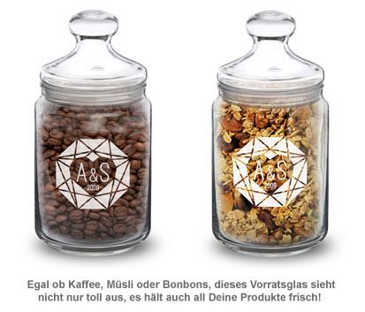Bonbonglas mit Gravur - Herzdiamant - 2