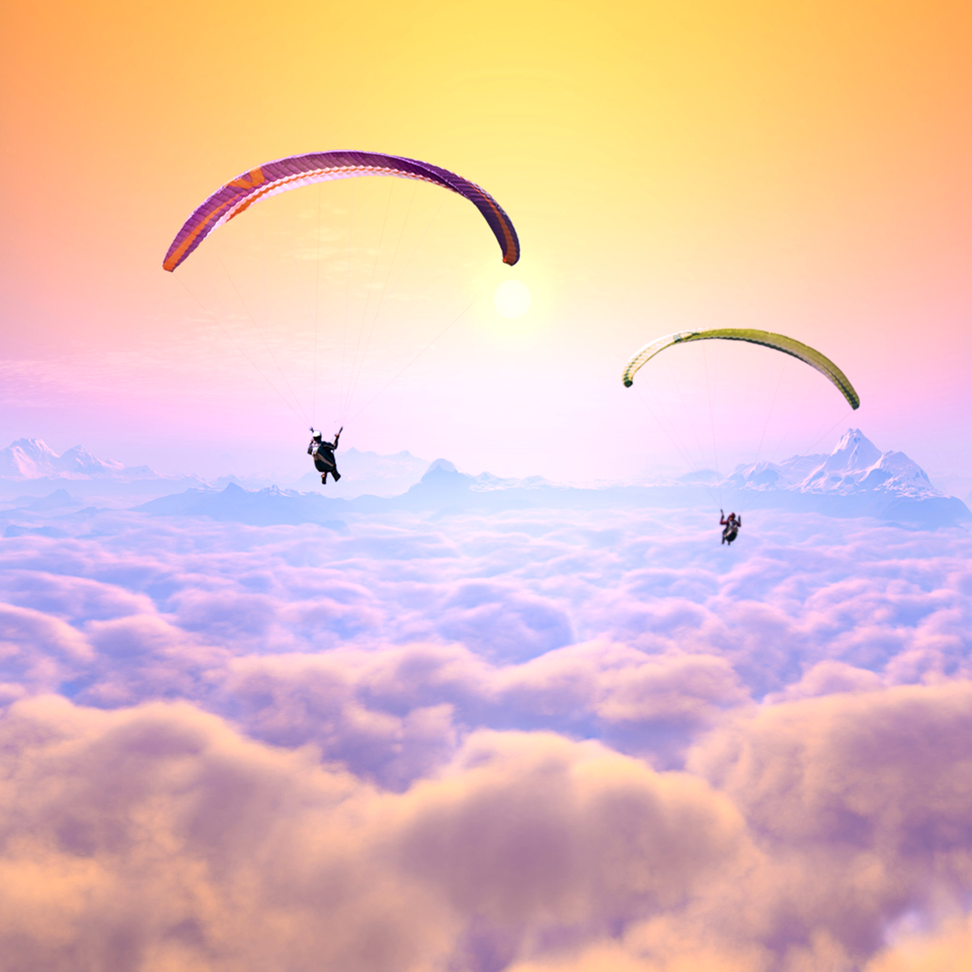 Romantischer Fallschirmsprung durch Wolke 7 - 5