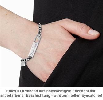 Armband mit Herzstanze Silber - Namensgravur - 2