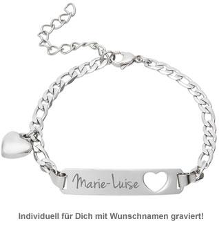 Armband mit Herzstanze Silber - Namensgravur - 3