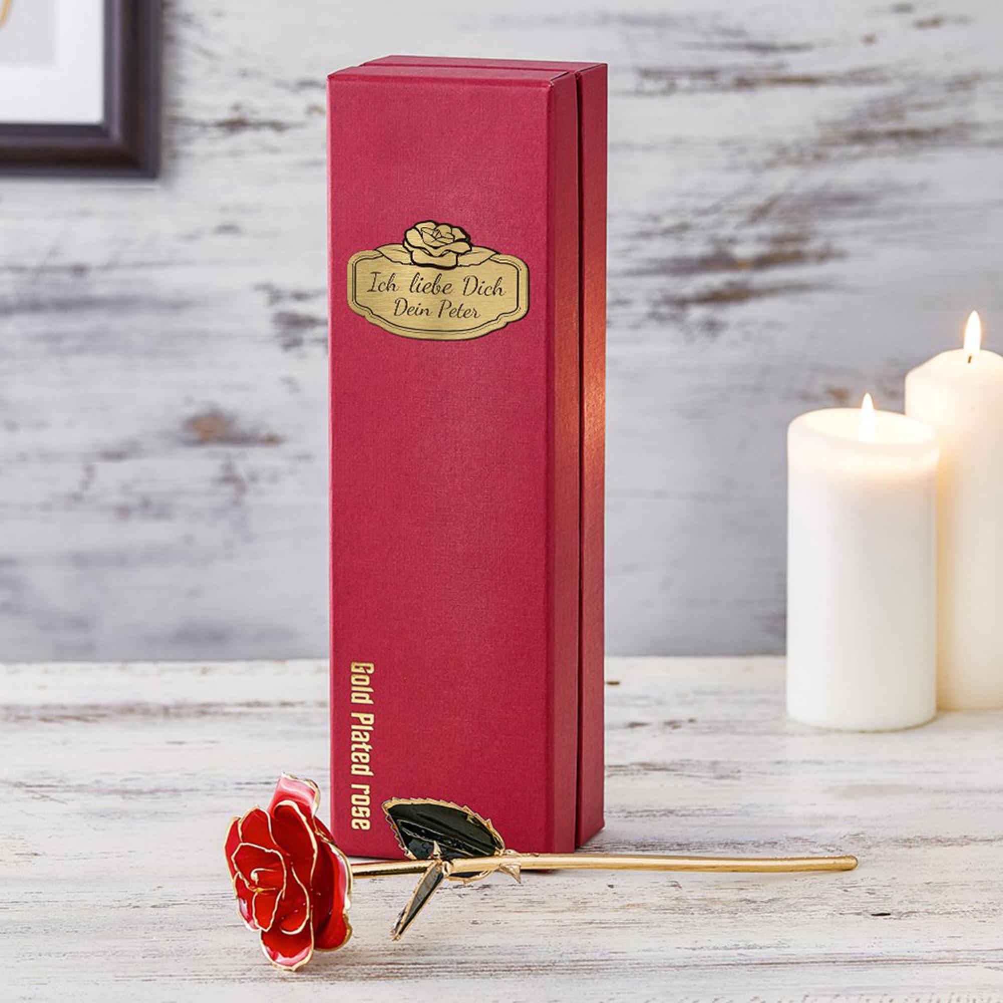 Vergoldete Rose mit personalisierter Geschenkbox - 2
