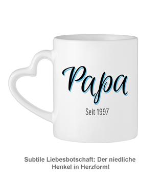 Personalisierte Herz Henkeltasse - Papa seit - 3