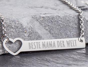 Kette mit Herzstanze Silber - Beste Mama - 2