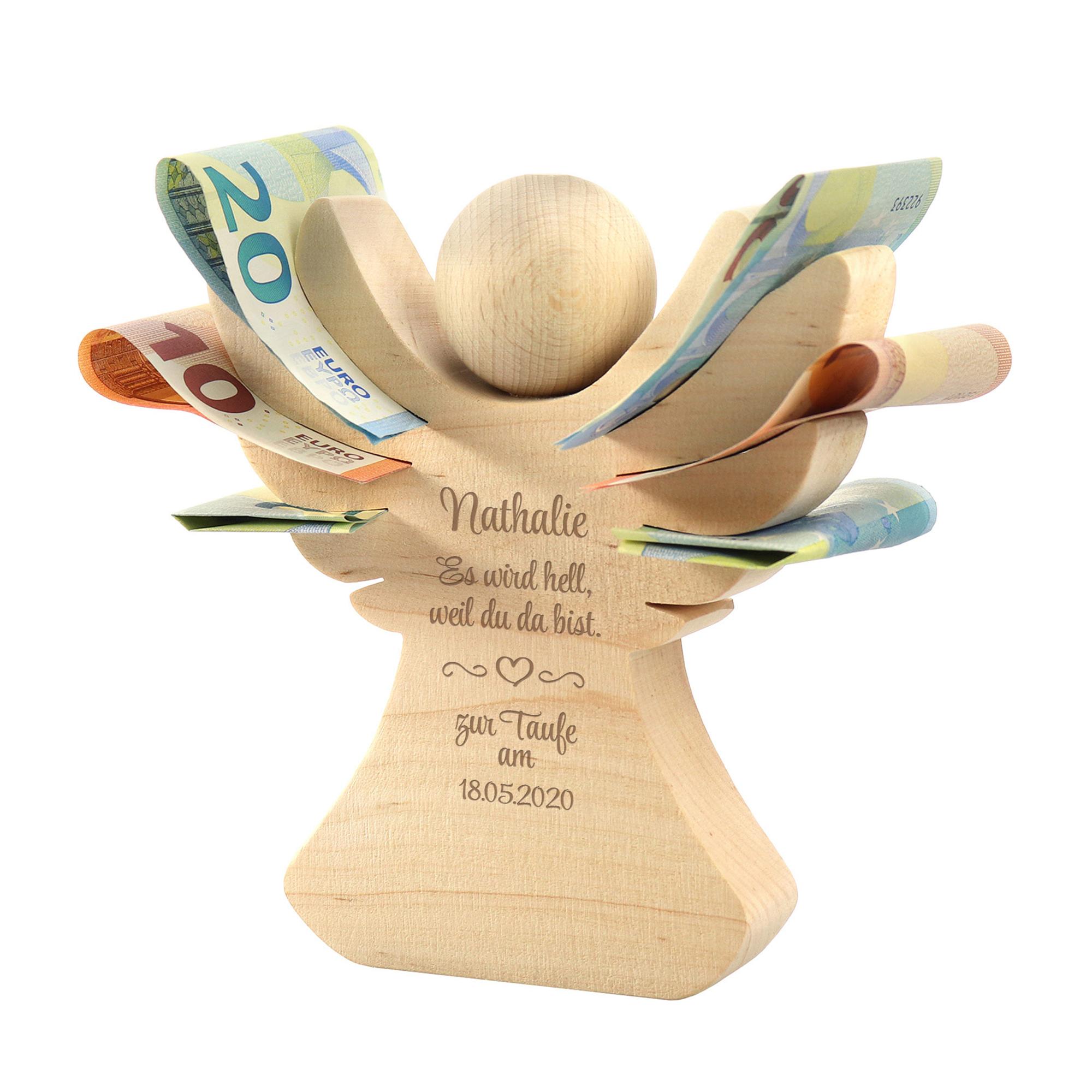 Holzengel Mit Gravur Zur Taufe Kreatives Geldgeschenk