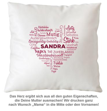 Personalisiertes Kissen für Mama - Herz aus Worten - 3