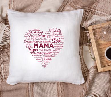 Personalisiertes Kissen für Mama - Herz aus Worten - 4