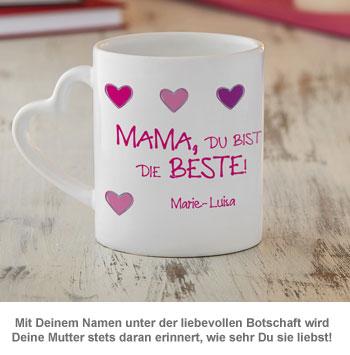 Fototasse mit Herzhenkel - Mama ist die Beste - 2
