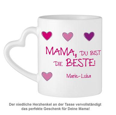 Fototasse mit Herzhenkel - Mama ist die Beste - 4