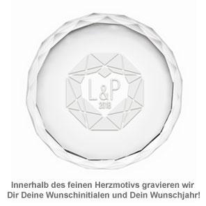 Kristall mit Initialen Gravur - Herzdiamant - 3
