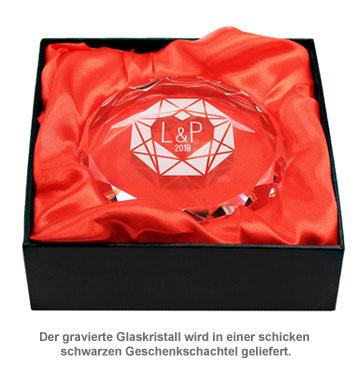 Kristall mit Initialen Gravur - Herzdiamant - 4