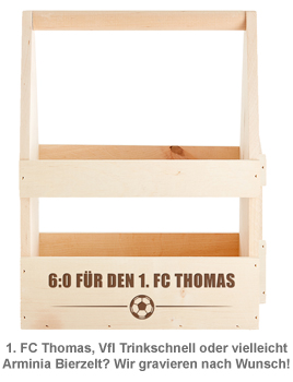 Fußball Flaschenträger mit Gravur - 6:0 - 3