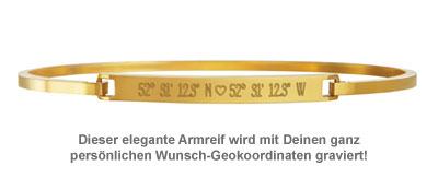 Armreif Gold mit Gravur - Geokoordinaten mit Herz - 2