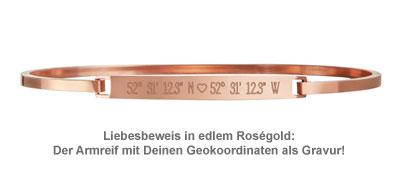 Armreif Rosegold mit Gravur - Geokoordinaten mit Herz - 2