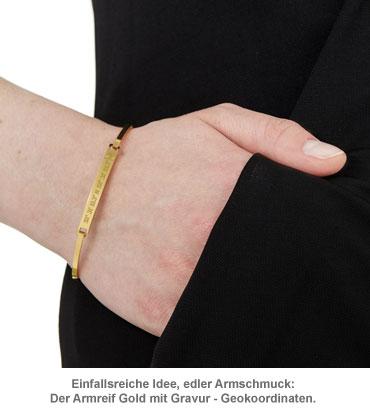 Armreif Gold mit Gravur - Geokoordinaten - 3