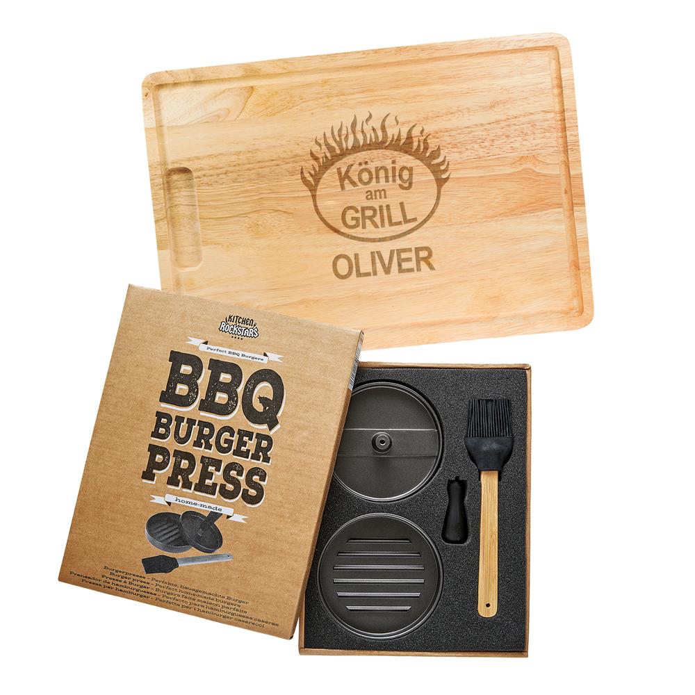 Burgerpresse mit Schneidebrett Grillset - Grillmeister - 3