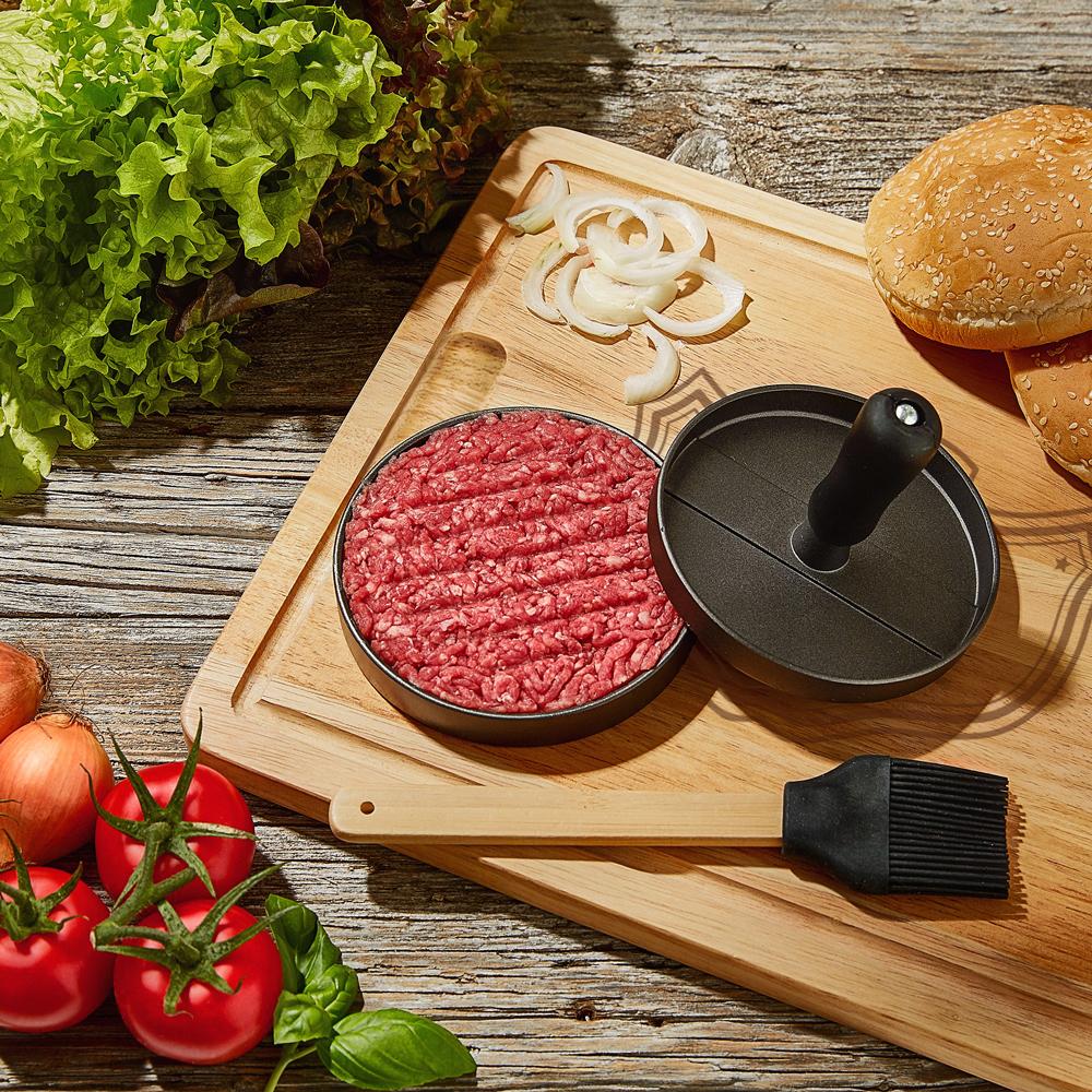 Burgerpresse mit Schneidebrett Grillset - Meisterkoch - 4