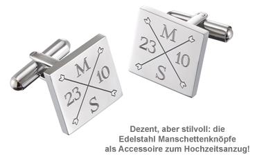 Manschettenknöpfe Silber zur Hochzeit - eckig - Monogramm - 2