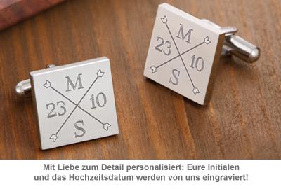 Manschettenknöpfe Silber zur Hochzeit - eckig - Monogramm - 3