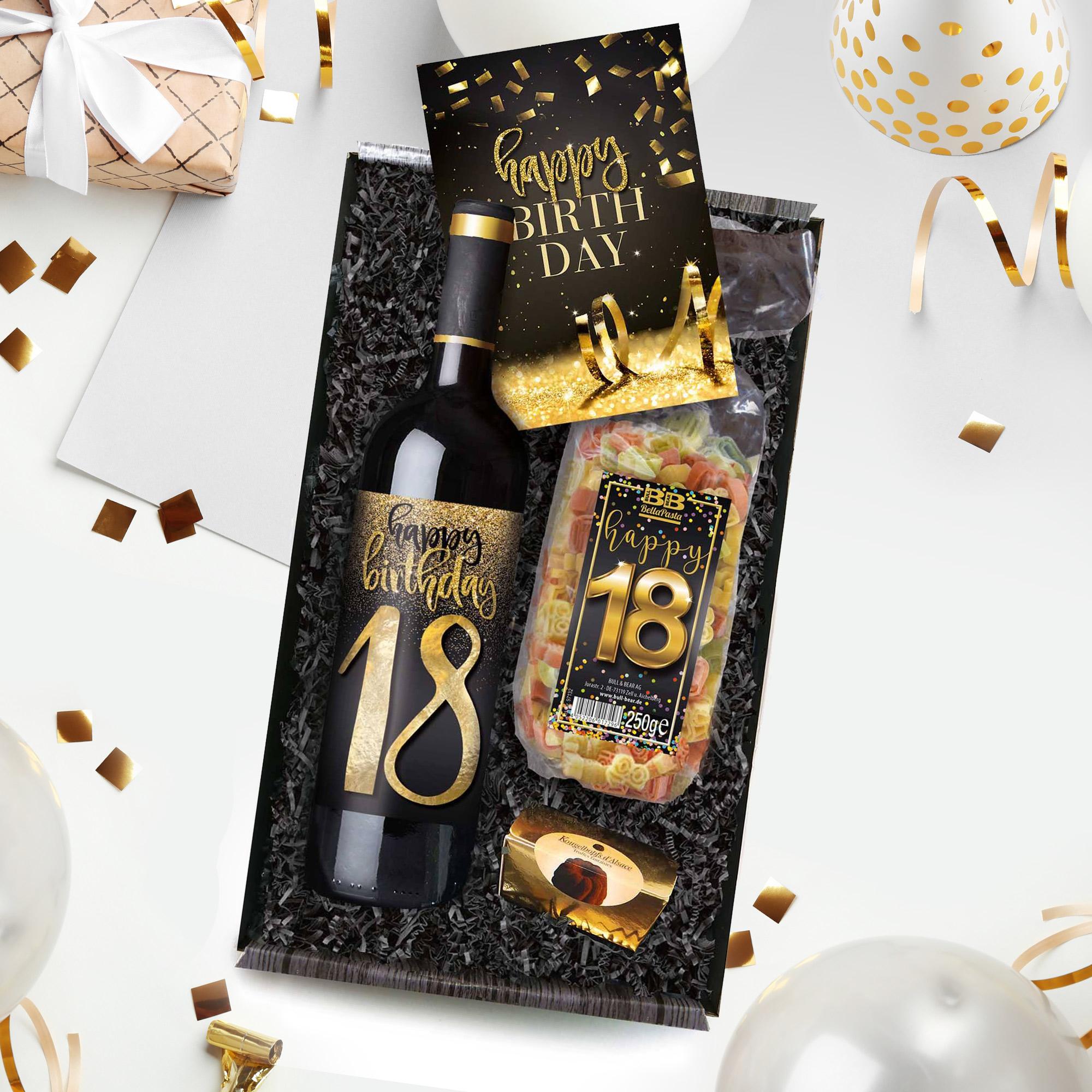 happy birthday geschenkbox zum 18 geburtstag. Black Bedroom Furniture Sets. Home Design Ideas
