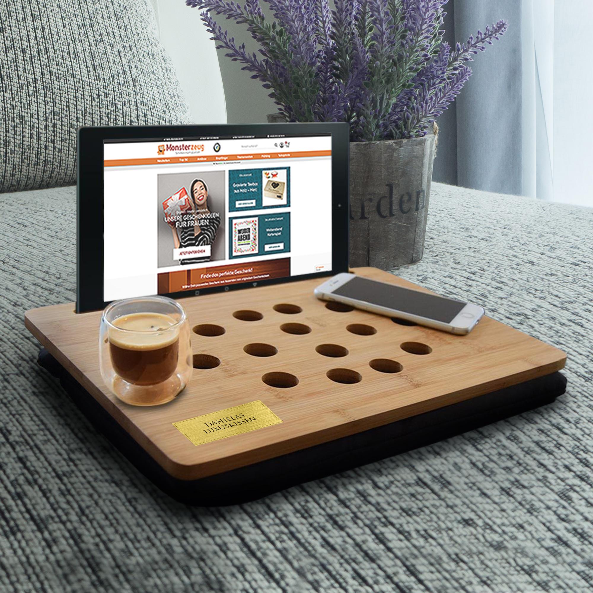 Knietablett mit Kissen Kissentablett Laptoptisch mit Tablet Halterung