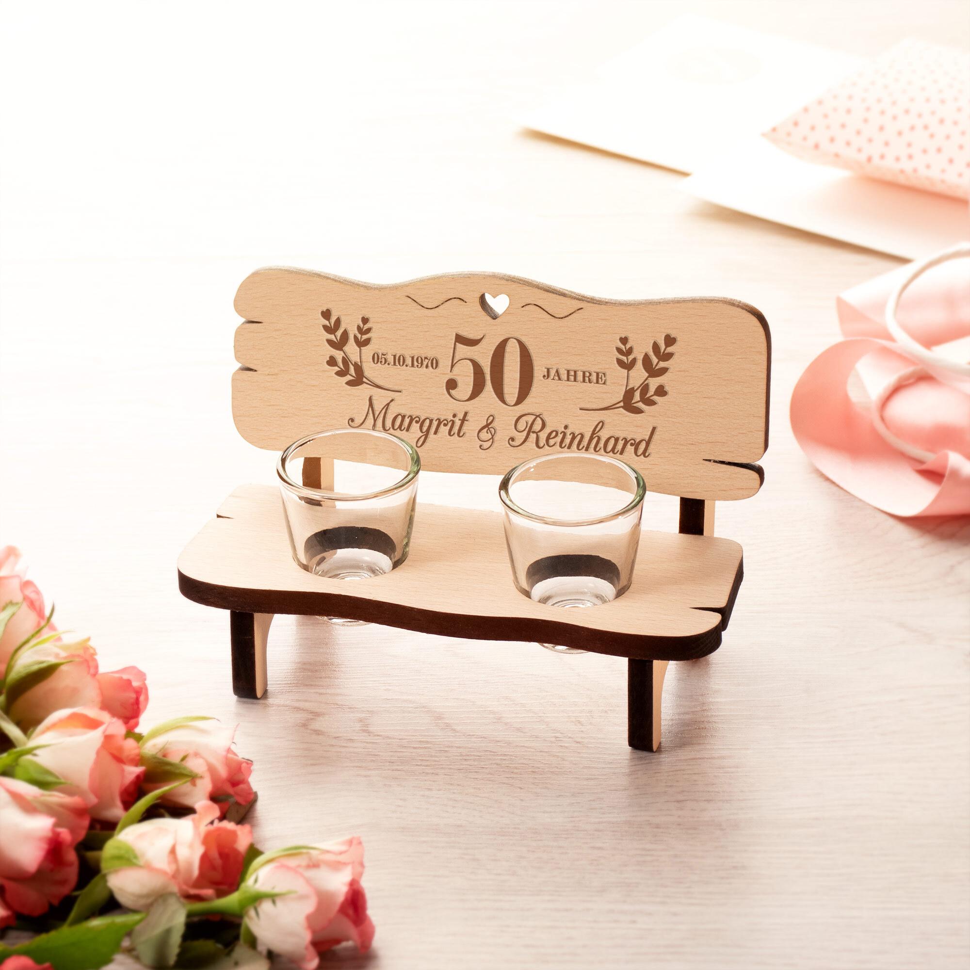 Personalisierte Schnapsbank zur goldenen Hochzeit